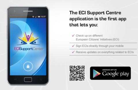 Ein Flyer des ECI Suppport Centre bewirbt die App für Smartphones