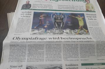 """mehr demokratie! auf Titelseite der Tiroler Tageszeigung """"Olympiafrage wird beeinsprucht"""""""
