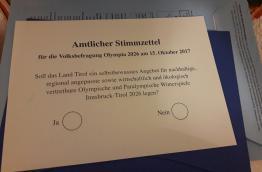 Stimmzettel Tiroler Olympia-Volksbefragung